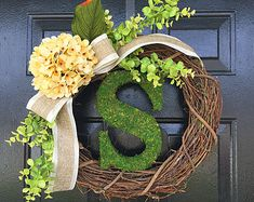 """Items similar to Smaller Version of The """"Louisa"""" Wreath :) Intricate Designed Summer Wreath, French Country Wreath, With Moss, Burlap and Hydrangeas on Etsy"""