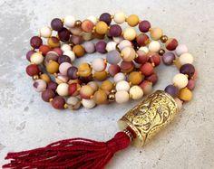 MY NEXT 30 YEARS Mala Bead Necklace, Hand Knotted Mala Beads, 108 Beaded Mala, Root Chakra Mala, Mookaite Mala Beads, Prayer Beads