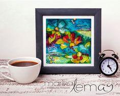 Oeuvre originale ou reproduction florale Multitude peinture par Marika Lemay artiste multi-média bleu rouge jaune noir de la boutique MarikaLemayArtiste sur Etsy