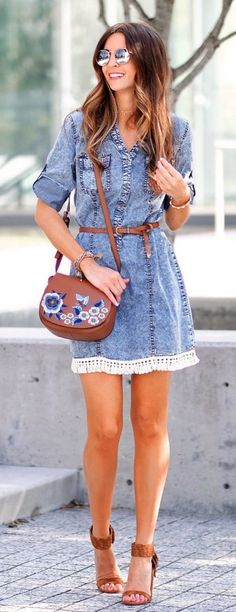 #Summer #Outfits / Denim Mini Dress + Brown Heels