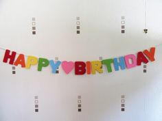 Your place to buy and sell all things handmade Felt Bunting, Felt Banner, Birthday Garland, Birthday Party Decorations, Personalized Banners, Childrens Party, Embroidery Thread, Colorful Decor, Rainbow Colors