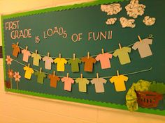 back to school bulletin board from a couple years ago (Math is load of fun and have students design their own shirt to represent themselves)