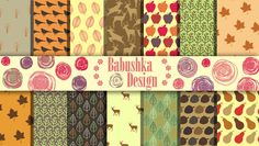 Colours of Autumn  Digital Paper Pack  Set of 14 by babushkadesign, $4.50