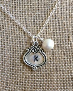Silver Initial K and Pearl Necklace by joytoyou41 on Etsy, $22.00