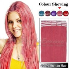 20 Inch 20pcs Tape Premium Remy Human Hair Extensions Straight Pink