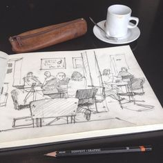 Sketching in the beautifully designed café at the Bauhaus Archive Berlin. #bauhaus #berlin #design #urbansketch #archisketcher