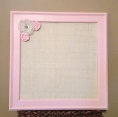 Baby Girl Nursery Burlap Magnetic Board  16 by BurlapandLaceBoards, $45.00