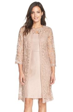 Adrianna Papell Embroidered Lace Illusion Yoke Sheath Dress  amp  Topper  (Regular  amp  Petite d7a199d22