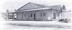 Photo sketch of Drumbo Agricultural Hall