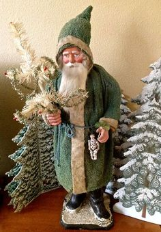 Antique Santa with green robe, tall. Santa candy container, from the Bob Merck Collection German Christmas, Old Fashioned Christmas, Antique Christmas, Christmas Past, Father Christmas, Primitive Christmas, Christmas Items, Christmas Images, Christmas Holidays