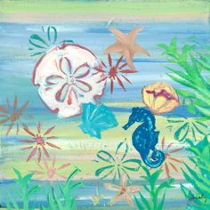 Greenbox Art + Culture Blue Seahorse with Sea Shells Stretched Canvas Wall Art by Jennifer Kiraly, 14 by 14-Inch by Oopsy daisy. $63.33