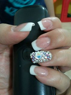 French nails with crystal swarovski