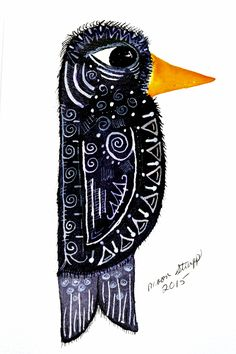 Moon Stumpp ICAD #47…off prompt –  Doodle bird, I just couldn't' think of anything this morning.  Black and white ink with Zig Clean Color Brush Pen on 4x6 scrap paper. #ICAD2015 watercolor, mini paintings, index card a day, art challenge, art journal, crow, raven,