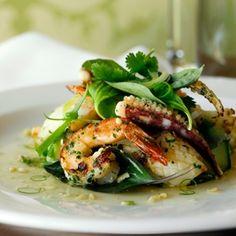 Grilled Prawn & Calamari with Lime & Palm Sugar Dressing, Avocado & Asian Leaves