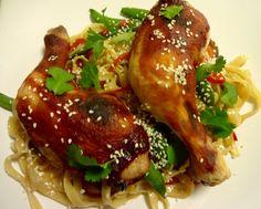 Edel's Mat & Vin : Marinerte kyllinglår med pasta og teriyakisaus !