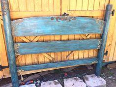 Wood burnt detailed & distressed headboard