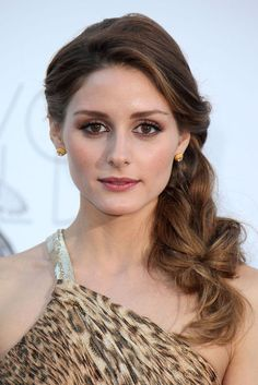 BM hair choice for one shoulder dresses - side braid pulled out.    Olivia Palermo - make-up & hair.