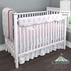 Crib bedding in Solid Pink, Pink Deer Head, Silver Gray XO, Solid Silver Gray, Pink Flying Arrow, White and Gray Arrow, Solid Pink Minky. Created using the Nursery Designer® by Carousel Designs where you mix and match from hundreds of fabrics to create your own unique baby bedding. #carouseldesigns