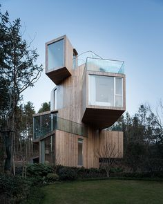 qiyunshan tree house hotel in china by bengo studio-qiyunshan tree house hotel i. qiyunshan tree h Contemporary Architecture, Amazing Architecture, Architecture Design, In China, Container Hotel, Tiny House, Modern Tree House, Treehouse Hotel, Country Hotel