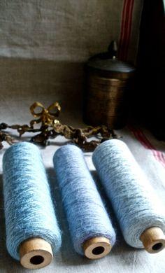 blue & brown antique bobbins found in Cinderella's castle
