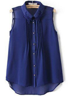 Blue Lace Lapel Sleeveless Chiffon Blouse 16.67
