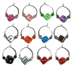 Bunco Dice Wine Glass Charms with Pouch - 1 Dozen Colored $17.99 ..... so need to get these!