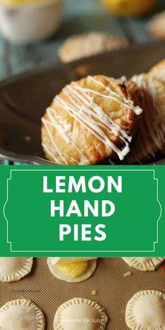 Mini lemon hand pies made with homemade lemon curd and flakey pie crust! This recipe is simple and fun! #lemonpie #handpie #lemonrecipe #easydessertideas Lemon Recipes, Donut Recipes, Pastry Recipes, Tart Recipes, Best Dessert Recipes, Cookbook Recipes, Amazing Recipes, Easy Desserts, Lemon Desserts