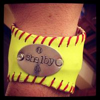 PLAYOFF SALE Softball Bracelet with Handstamp of jersey number and Swarovski crystal rivets