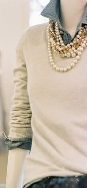 throw on some pearls to a casual outfit