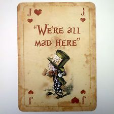 free mad hatter printables | Alice in Wonderland Vintage Playing Card A4 QUOTE Prop Mad Hatters Tea ...