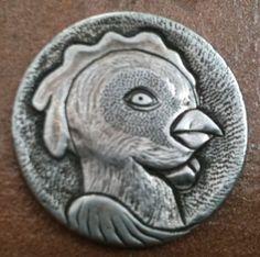 DeChristo - Stank Eye Chicken - Nickel #3 Hobo Nickel, Folk Art, Buffalo, Coins, Lion Sculpture, Carving, Statue, Eye, Chicken