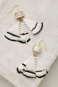 Feathered Druzy Earrings