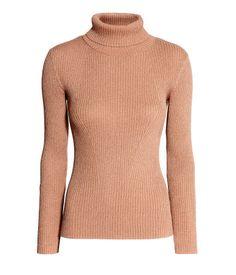 Ribbed Turtleneck Sweater | Beige/glittery | Ladies | H&M US