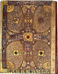 "treasures-and-beauty: ""Back cover of the Lindau Gospels, Court School of Charles the Bald Switzerland, Abbey of St. Gall, late ninth century ca. Medieval Books, Medieval Manuscript, Medieval Art, Illuminated Manuscript, Renaissance Art, Vintage Book Covers, Vintage Books, Vintage Magazines, Book Cover Art"