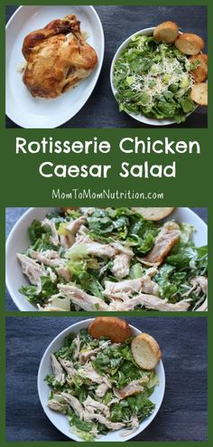 Rotisserie Chicken Caesar Salad is made by a pre-cooked rotisserie chicken, making dinner extra easy and fast! Plus this recipe comes with a simple, homemade Caesar salad dressing. by elvia Chicken Ceasar Salad, Caesars Salad, Homemade Caesar Salad Dressing, Tartiflette Recipe, Le Diner, How To Make Salad, Healthy Dinner Recipes, Healthy Lunches, Healthy Salads