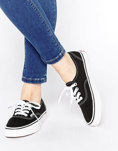 Image 1 ofVans Authentic Classic Black and White Lace Up Trainers