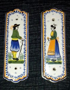 The couple that collects together stays together! Door plates from Quimper, France circa 1925. Photo courtesy countryfrenchpottery.com