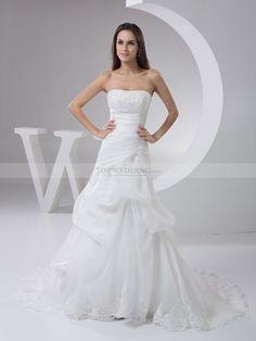 Margeree - corte a cola capilla vestido de novia de satén con apliques