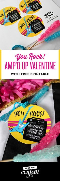 You Rock! Amp'd Up Valentine, You Rock, Amp'd Up, valentine, valentine printable, classroom valentine, valentine free printable, free printable, kids valentine, school valentine, easy valentine, Just Add Confetti, Just Add Confetti printables, rock star v