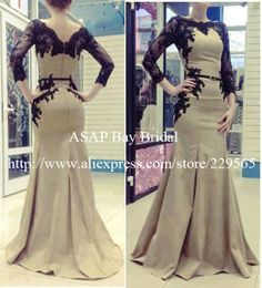 US $169.99  2014-New-Elegant-Arabic-Kaftan-Evening-Dresses-Women-With-Long-Sleeves-And-Applique-Lace-Satin-Abaya