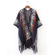Bohemian Color Patchwork Tasseled Open Knitted Pullover