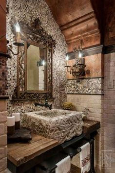6 Eye-Opening Useful Tips: Rustic Kitchen Ideas rustic cottage master suite.Rustic Country Ideas rustic headboard with tin. Tuscan Bathroom, Rustic Bathrooms, Dream Bathrooms, Beautiful Bathrooms, Stone Bathroom, Bathroom Mirrors, Design Bathroom, Bathroom Colors, Bathroom Interior