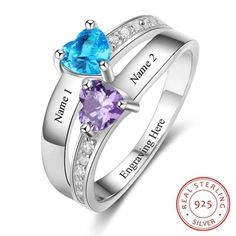 Lam Hub Fong Personalized Promise Rings Custom Promise Rings for Her Womens 2 Simulated Birthstones Rings for Mother -- Nice of you to have dropped by to view our image. (This is an affiliate link) Custom Promise Rings, Personalized Promise Rings, Promise Rings For Her, Diamond Wedding Rings, Engagement Ring Settings, Vintage Engagement Rings, Ring Engagement, Mother Jewelry, Mother Rings