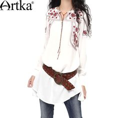 Artka Women's Spring Newlook Ethnic Red Embroidery Tied V-neck Comfy Linen Loose Medium Style Long Sleeve Blouse SA10230Q