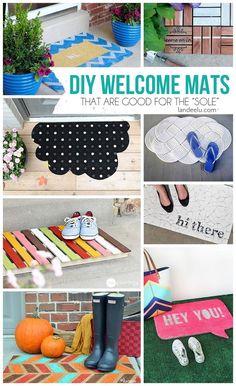 DIY Welcome Mats | http://landeelu.com  Make your doormat exactly how you want it!  Lots of inspiring ideas here!