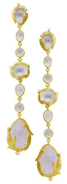 Laurie Kaiser Lemongrass Shoulder Duster Earrings in rainbow moonstones, white diamonds and 18k yellow gold.  www.lauriekaiser.com #jewelry