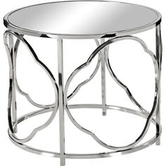 J&M Paulina Mirrored Side Table $279 20Hx24 Diameter With its nickel-plated quatrefoil base and mirrored surface, this openwork side table adds an elegant touch to your living room or den.