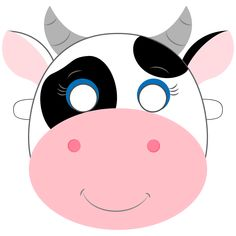 Dress-up for the perfect kids party or Sunday playtime with free printable masks for kids.Printable Masks, Fun Activities For Kids, Crafts For Kids. Animal Face Mask, Animal Masks, Printable Cow Mask, How To Do Origami, Cow Craft, Mask Template, Templates Printable Free, Animals For Kids, Mask For Kids