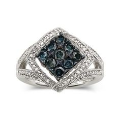 3/4 CT. T.W. Blue Diamond Ring - jcpenney