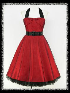 red and black pin up dress | ... RED HALTER 40s 50s ROCKABILLY RETRO COCKTAIL PROM PARTY VINTAGE DRESS